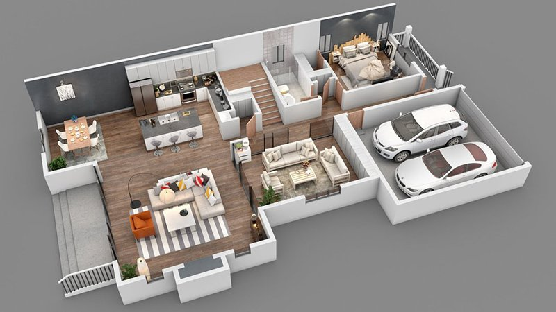 6 - 3D Architectural Floor Plans for Residential Real Estate