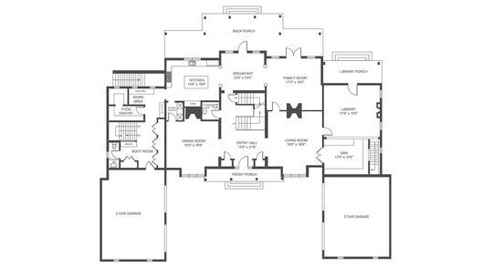 2D Floor Plan: Black and White
